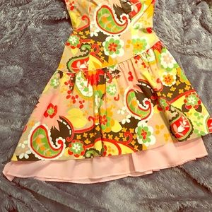 retro bright paisley floral mini dress